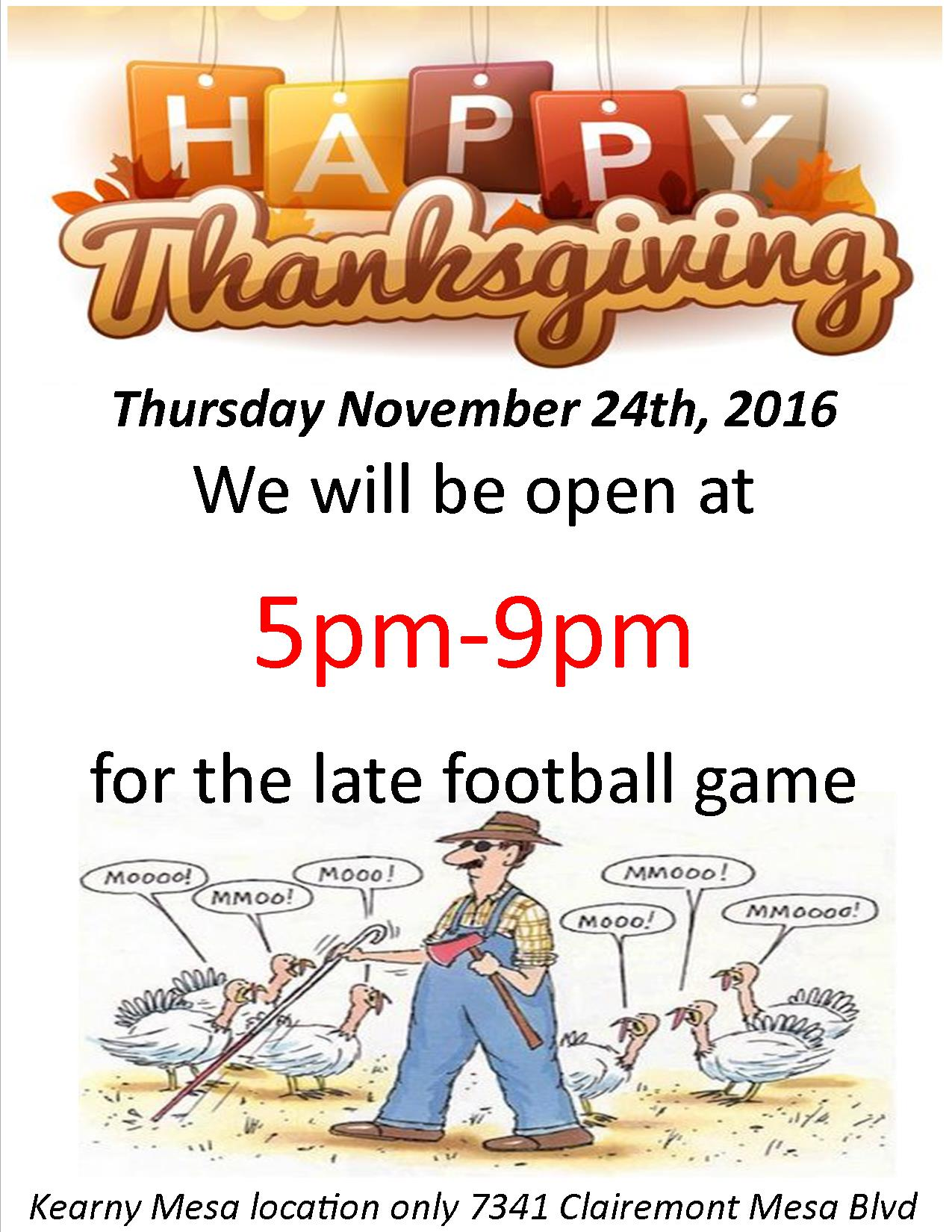 Liberty Tobacco will be open Thanksgiving at 5pm-9pm
