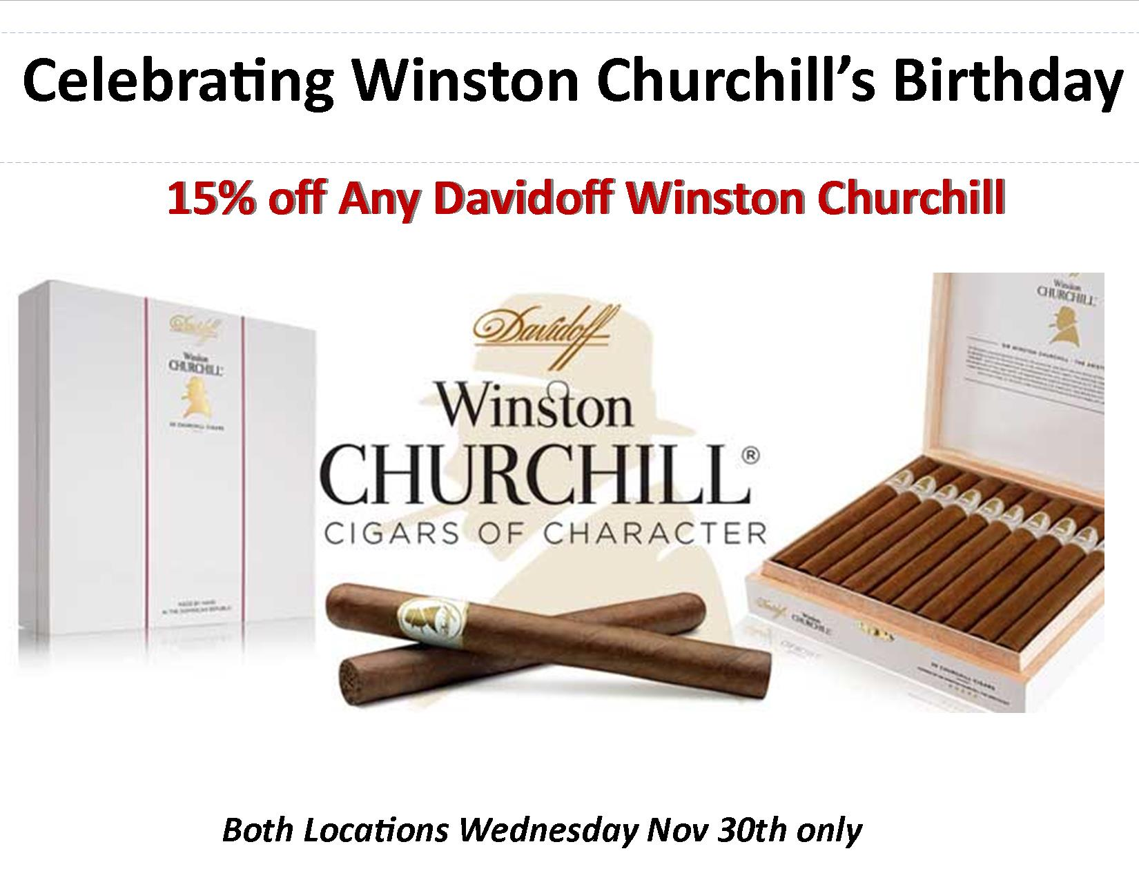 Wednesday Nov 30th Celebrating Winston Churchill's birthday