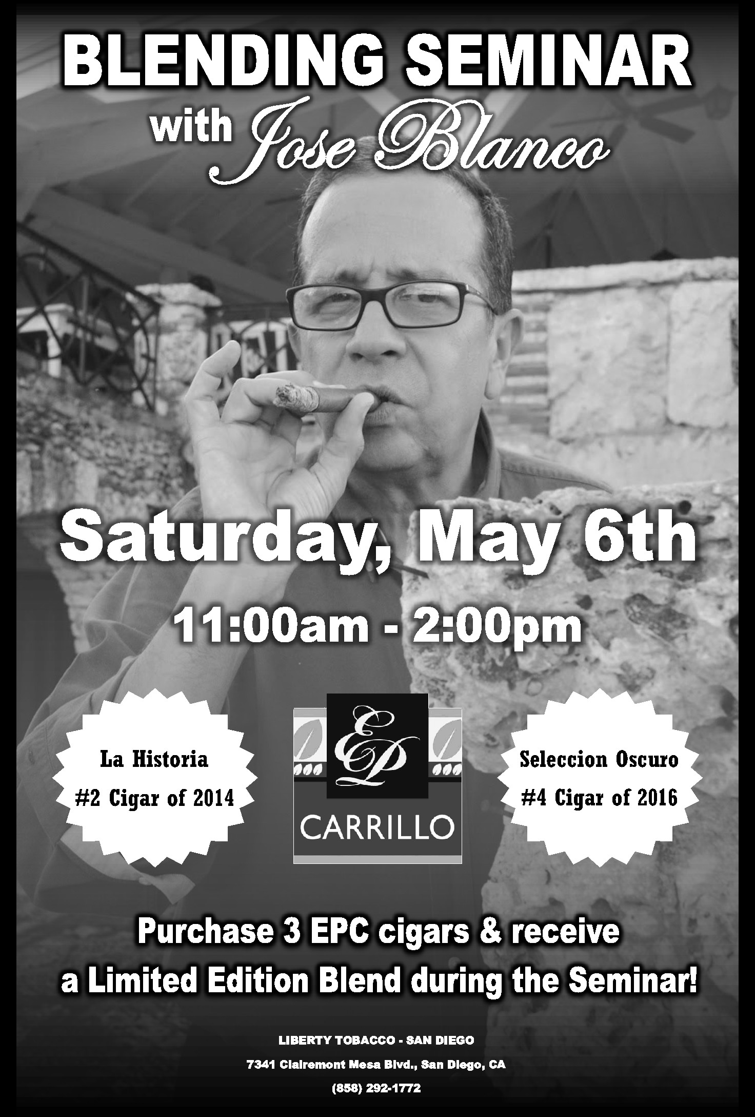 Meet Jose Blanco of EPC Cigars May 6th at Liberty Tobacco