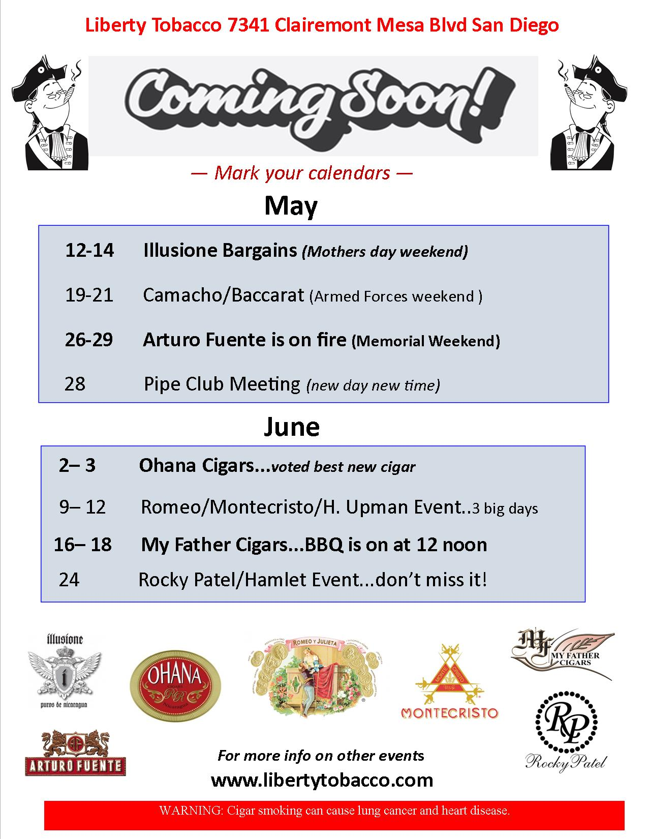 Save the date!!! Lots of great events here at Liberty Tobacco