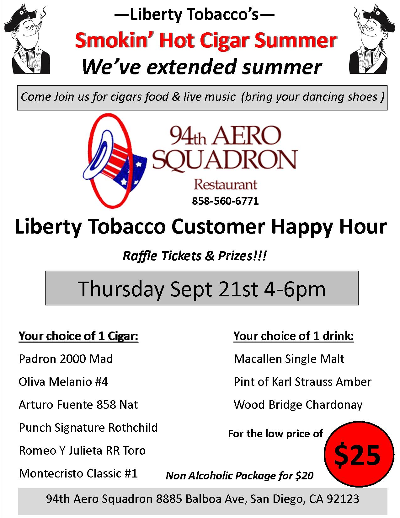 Liberty Tobacco Happy Hour at 94th Aero coming soon!!!
